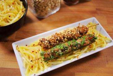Ázsiai szezámolajos krumplisaláta szójás csirkenyárssal