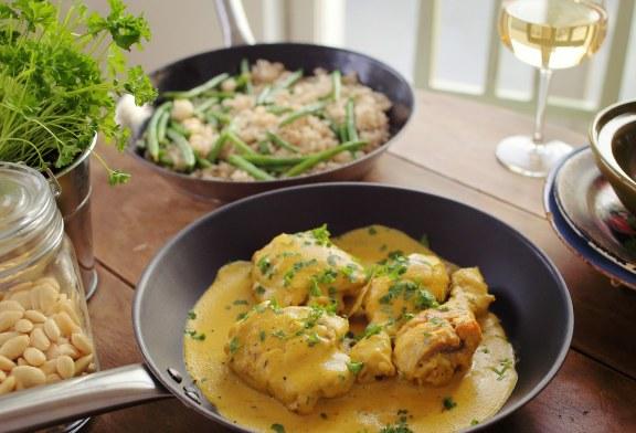 Sáfrányos mandulás csirke, recept