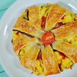 Sajtos – tojásos tésztakoszorú, recept