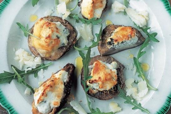 Jamie Oliver:  Ricottával töltött sült gomba – Funghi al forno ripieni di ricotta