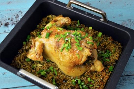 Tavaszi, zöldfűszeres gerslivel töltött csirke