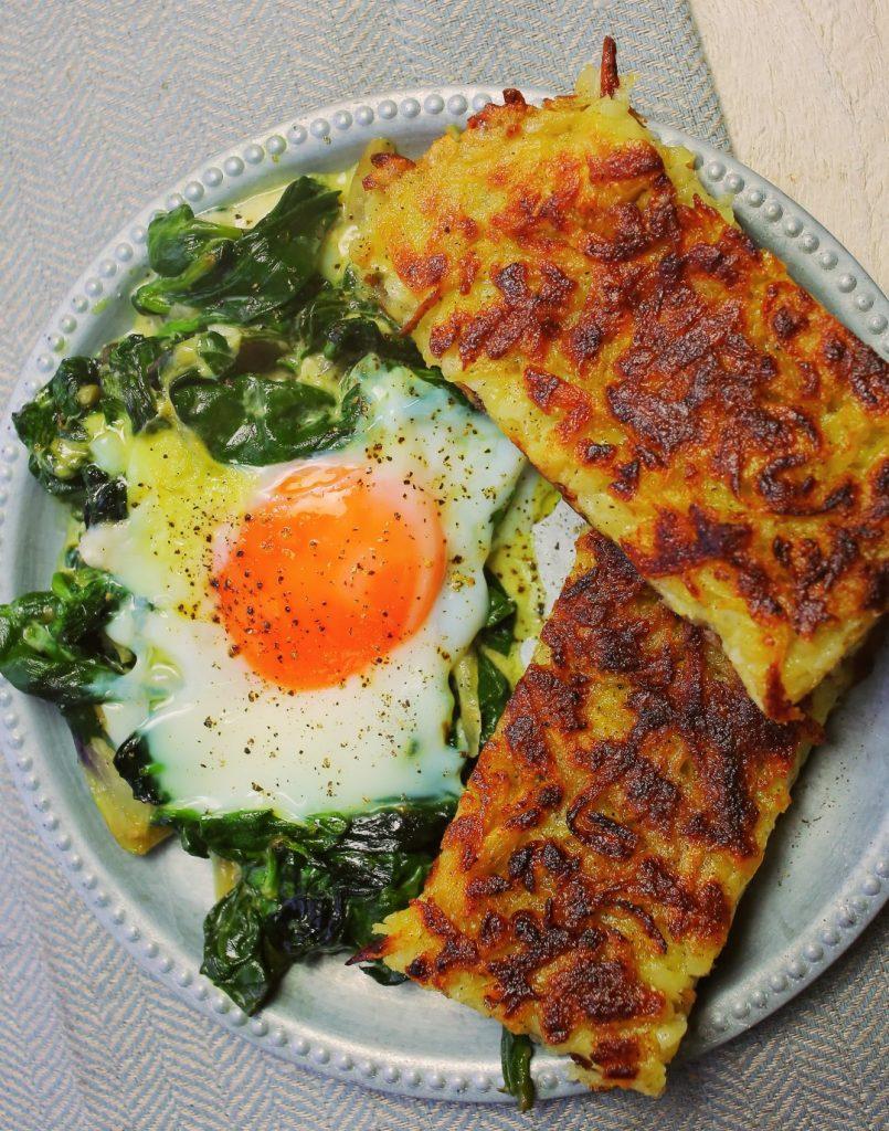 Serpenyős röszti sütőben sült tojással