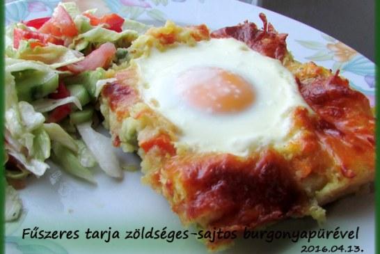 Fűszeres tarja zöldséges-sajtos burgonyapürével, recept