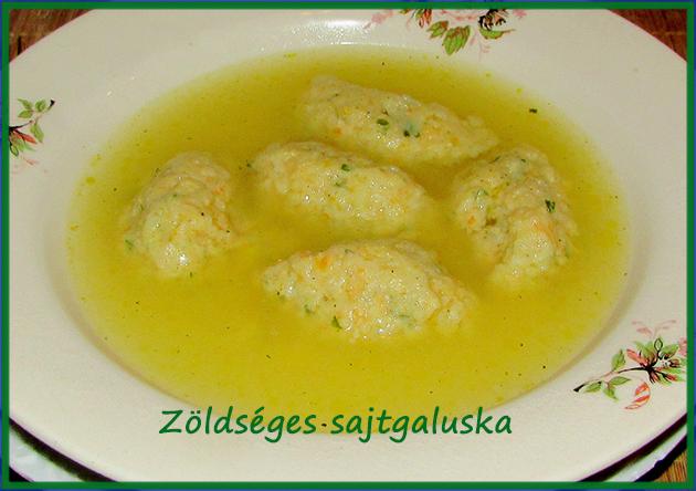 Zöldséges sajtgaluska (levesbetét)