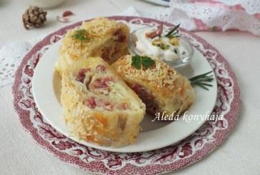 Csülkös-sajtos rétestekercs, recept