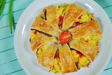 Sajtos - tojásos tésztakoszorú, recept