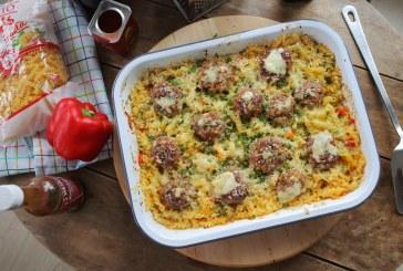 Sütőben sült tészta sok sajttal és Húsgolyókkal – recept