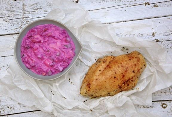 Grillezett csirkemell céklamajonézzel