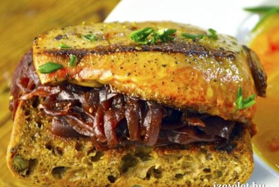 Kacsamájas szendvics lilahagymalekvárral