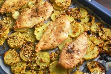 Grillezett csirkemell fűszeres-szezámmagos újburgonyával