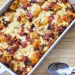 Baconös tepsis krumpli, recept