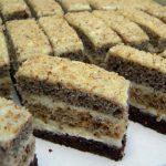 Diós-mákos csíkos süti, recept