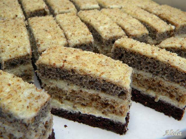 Diós-mákos csíkos süti