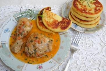 Kolozsvári csirke burgonya lángossal, recept