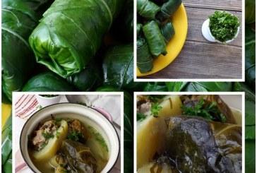 Töltött karalábélevél leves, recept