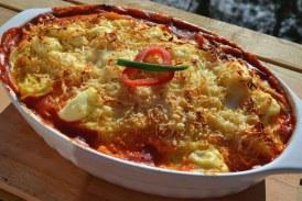 Krémsajtos, csirkemelles rakott spagetti sütőben sütve – recept