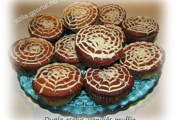 Duplacsokis vaníliás muffin, recept