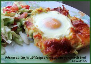 Fűszeres tarja zöldséges-sajtos burgonyapürével