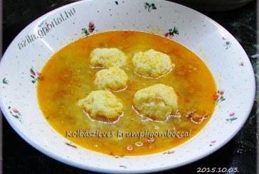 Kolbászleves krumpligombóccal, recept