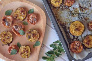 Sült batáta és sajtos paradicsom