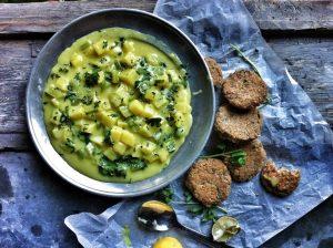 Currys-kókuszos burgonyafőzelék - halfasírttal