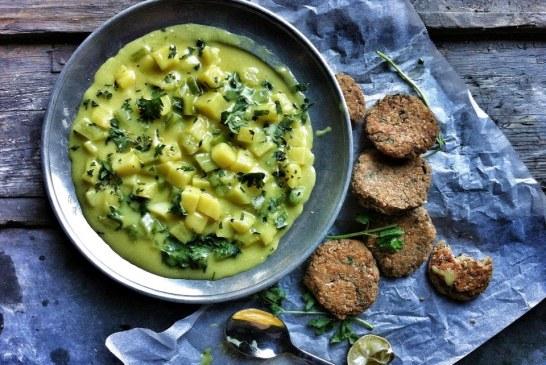 Currys-kókuszos burgonyafőzelék - halfasírttal, recept