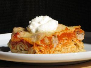 Svéd húsgolyós rakott spagetti