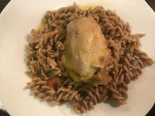 csirkepaprikás - szalonna
